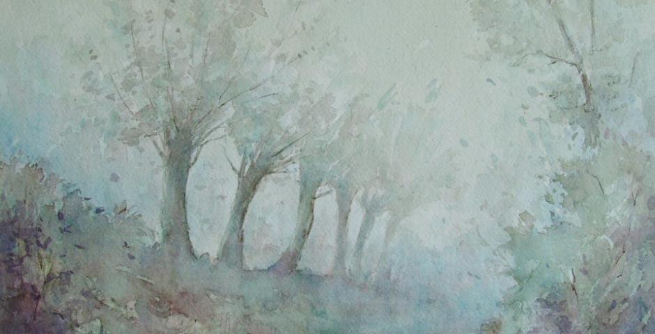 silenzio e solitudine - acquarello 40x50 - 1990